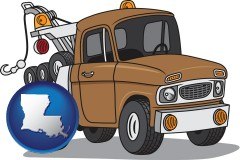 louisiana map icon and an automobile tow truck