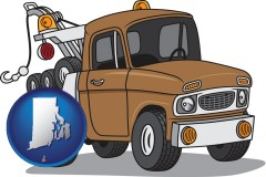 rhode-island map icon and an automobile tow truck