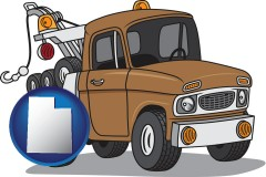 utah map icon and an automobile tow truck