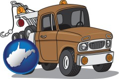 west-virginia map icon and an automobile tow truck