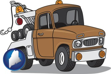 an automobile tow truck - with Maine icon