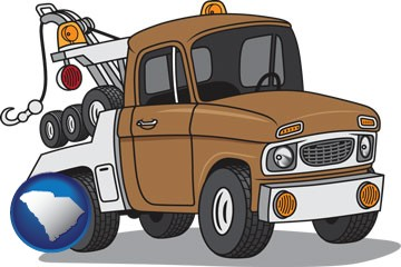 an automobile tow truck - with South Carolina icon