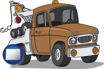 an automobile tow truck - with Wyoming icon