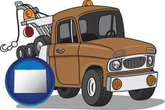 colorado map icon and an automobile tow truck