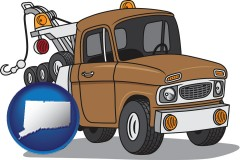 connecticut map icon and an automobile tow truck