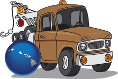 hawaii map icon and an automobile tow truck