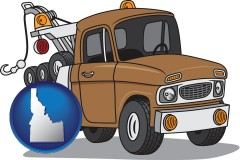 idaho map icon and an automobile tow truck