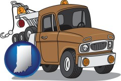 indiana map icon and an automobile tow truck