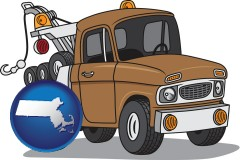 massachusetts map icon and an automobile tow truck