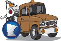 minnesota map icon and an automobile tow truck