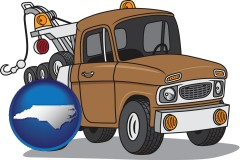 north-carolina map icon and an automobile tow truck