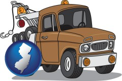 new-jersey map icon and an automobile tow truck