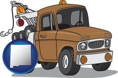 new-mexico map icon and an automobile tow truck