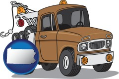 pennsylvania map icon and an automobile tow truck