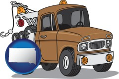 south-dakota map icon and an automobile tow truck