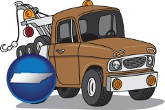 tennessee map icon and an automobile tow truck