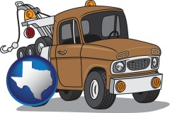 texas map icon and an automobile tow truck